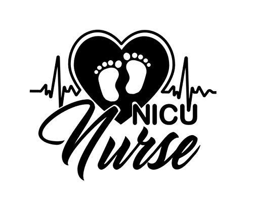 "BoMaxx Decals Nurse Sticker Decal | NICU Heart Nursing Sticker Decal | Car Decal, Window, Laptop, Tablet and More. (Black, 6.3"" x 5"")"