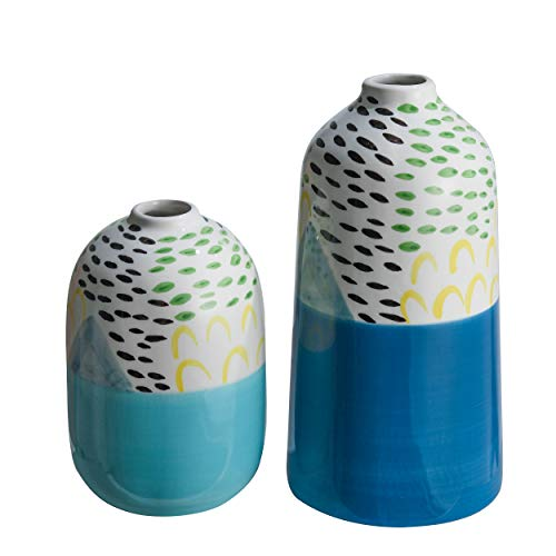 TERESA'S COLLECTIONS 2er Set Keramik Vasen mit Aquarellmalerei, 16/22cm Blau-Weiss Blumenvase für Wohnzimmer, Küche, Tisch, Zuhause, Büro, Hochzeit