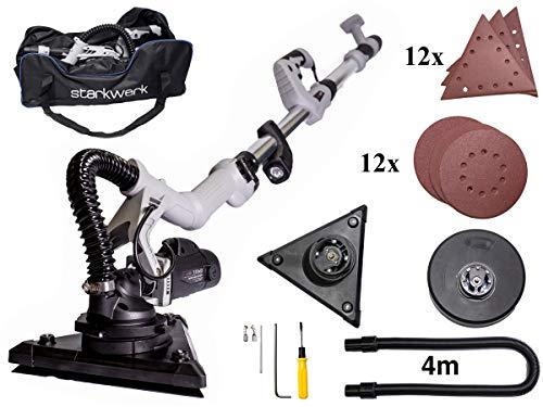 710 Watt Teleskopstange Ø 215 mm Schleifscheibe Wechselkopfsystem LED-Licht Wandschleifer Deckenschleifer Trockenbauschleifer Starkwerk SW 955