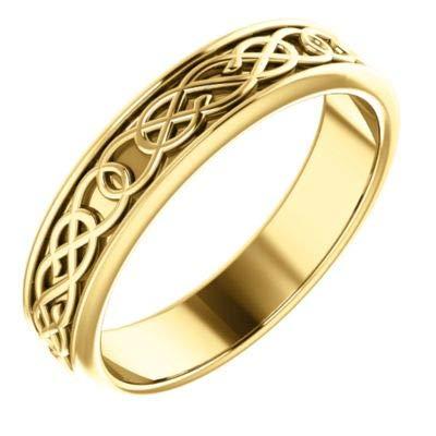 Ring aus 14 Karat Gelbgold, poliert, 5 mm, irischer Claddagh-Ring mit keltischem Dreifaltigkeitsknoten-Design, Schmuck, Geschenke für Frauen