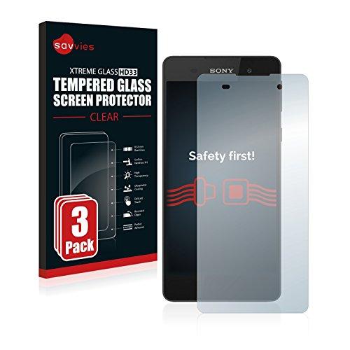Savvies Panzerglas kompatibel mit Sony Xperia E5 (3 Stück) - Echt-Glas, 9H Festigkeit, Anti-Fingerprint