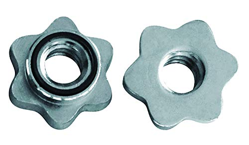 Tunturi Screw Collars Hantel Verschluss Schraubverschluss-2 Sternverschlüsse für 30 mm Hantelstangen Sicherheitsverschluss, Silber, one Size