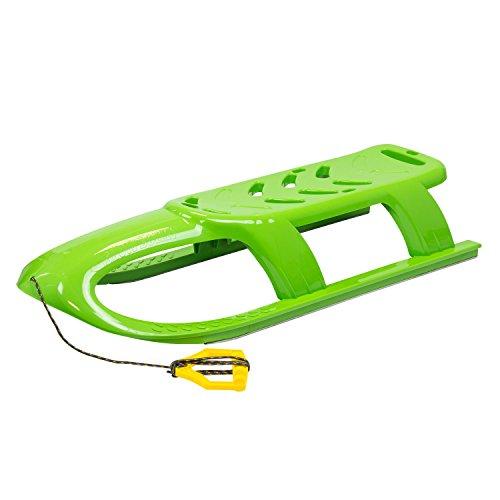 Prosperplast Kinderschlitten Schlitten mit Metallschienen und Seil (Grün)
