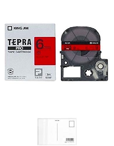 キングジム テープカートリッジ テプラPRO SC6R カラーラベル 赤 6mm 【× 2 個 】 + 画材屋ドットコム ポストカードA