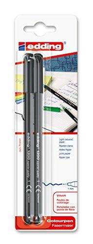 edding 1200 Fasermaler fein - schwarz - Packung mit 2 Stiften - Rundspitze 1 mm - Filzstift zum Zeichnen und Schreiben - für Schule, Mandala