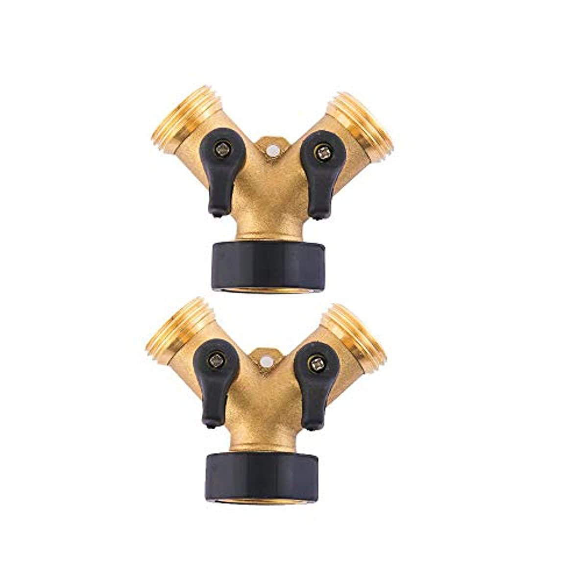 HQMPC Heavy Duty Brass Hose Y-Connector Two Way Valve with Shut-Off Valves Brass Hose Splitter (2)