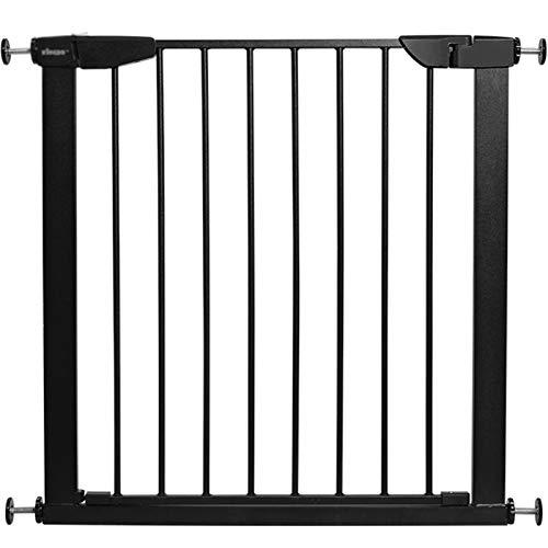 Jeseca Puerta de mascota con cierre automático de seguridad para puerta de puerta, de metal, extensible, para el hogar, interior, para puerta de bebé, color negro (color: negro, tamaño: 82 ~ 89 cm)