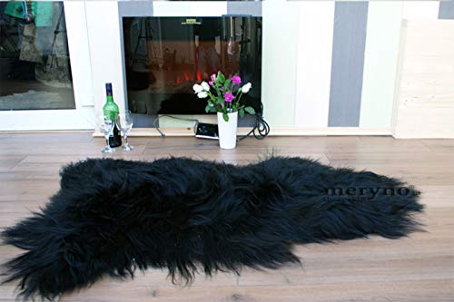 Meryno Alfombra de Piel de Oveja islanda, Color Negro, Negro, Medium