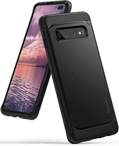 """Ringke [Onyx] Compatible with Galaxy S10 Plus (6.4"""") Case [Extreme Tough] Compatible Rugged Flexible Protection Durable Anti-Slip TPU Heavy Impact Shock Absorbent Case for Galaxy S10 Plus - Black"""