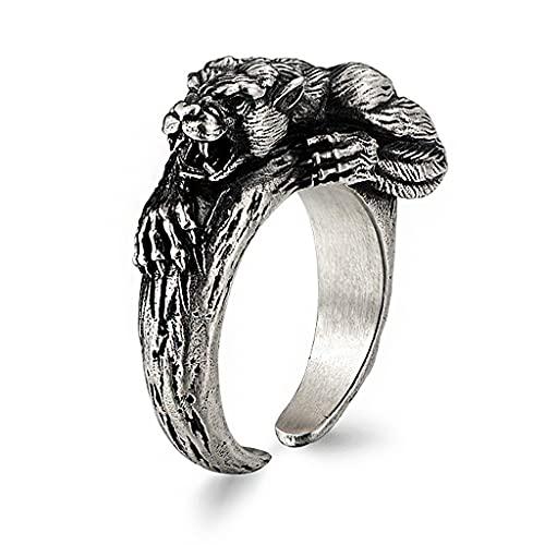 AQzxdc Anillo de plata hecho a mano de leopardo, ajustable vintage punk rock, regalo de cumpleaños, anillos de Navidad, motociclista, joyería para hombres, leopardo