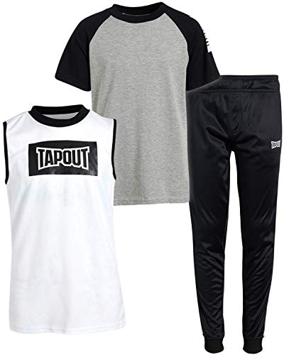 TAPOUT Boys? Active Tracksuit Set - Short Sleeve T-Shirt, Tank Top, and Jogger Sweatpants, Black/White/Grey, Size 10