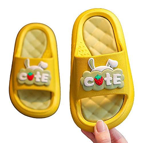 KaO0YaN Zapatillas para niños, niñas de verano de dibujos animados padres-niño antideslizantes de fondo suave, zapatillas de baño de bebé de interior - amarillo_26/27 yardas (16,5 cm de largo)