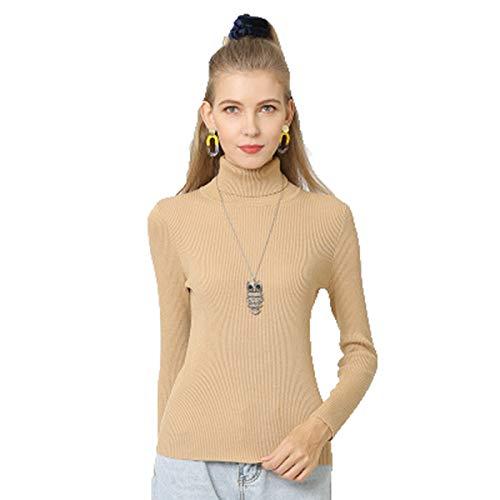 SLYZ Otoño E Invierno De Mujeres Europeas Y Americanas Nueva Camisa De Fondo De Color Sólido Suéter De Punto Delgado Cuello Alto Suéter De Mujer De Talla Grande