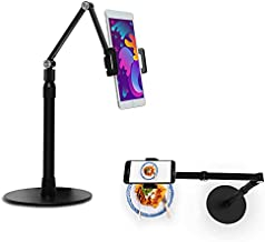 Phone Tablet Overhead Stand - Aluminum Tablet Stand Holder - Camera Mount, Adjustable Height, 360 Degree Rotation - Compatible with 3.5-11