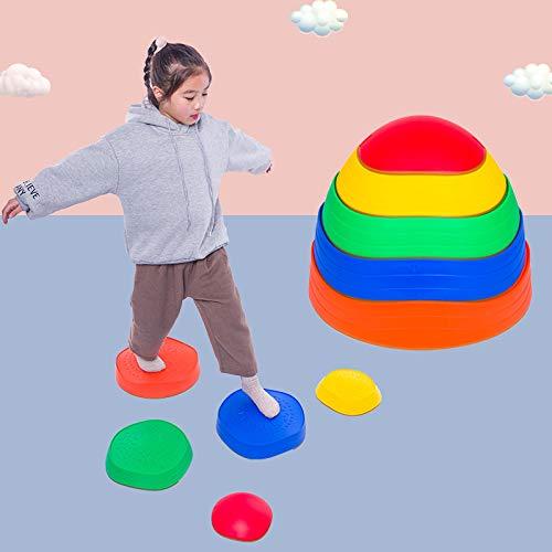 Kacsoo Balancing Set Balance Stones Child Safe Rubber Non-Slip Edging Rainbow Crossing River Stones Multi-Colour Stepping Stones for Kids Promote Coordination, Balance, Strength