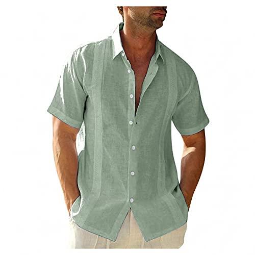 Men's Casual Button Down Shirts Short Sleeve Cotton Linen Tops Regular Fit T-Shirts Summer Beach Dress Shirt Green