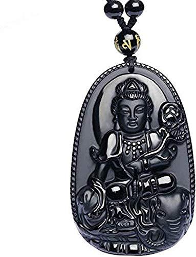 WLHLFL Collar Único Natural Obsidiana Negra Tallada Buda Amuleto de la Suerte Colgante Collar Colgante Joyería para Mujeres Hombres