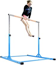 Zupapa Gymnastic Training Bar, Expandable Gymnastics Kip Bar with Strong Solid Wood Bar & Stainless Steel Regulating Arms, Adjustable Height 3'-5' Junior PRO Gymnastics Bar, 400 lbs Weight Capacity