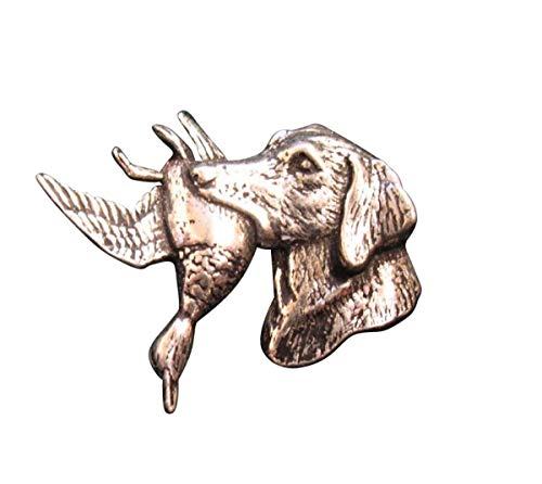 Brazil Lederwaren Ansteckpin Hund mit Ente   für den Hut oder das Revers   Perfekt zum Jagd-Outfit   Anstecker Pin Button   Altsilber