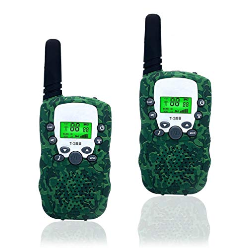 Best Gifts for Kid, Spring&Walkie Talkies for Kids, 3 Miles Range, Built in Flash Light,1 Pair (Green-01)