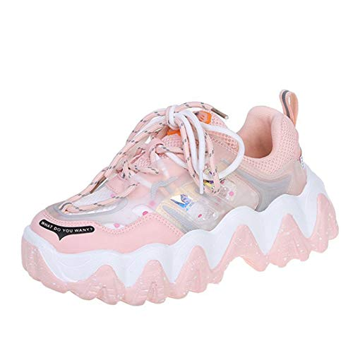 DogensHonz Mujeres Rainbow Color Color Lace-Up Sneakers Dama al Aire Libre Transpirable Casual Round Toe Shoes Pink 35