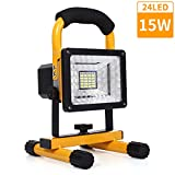50W LED Work Lights Rechargeable, 120 LED Portable Floodlight with Solar Panel, Built-in Rechargeable Lithium Batteries, IP65 Waterproof Floodlight for Outdoor, Camping, Hiking and Construction Site