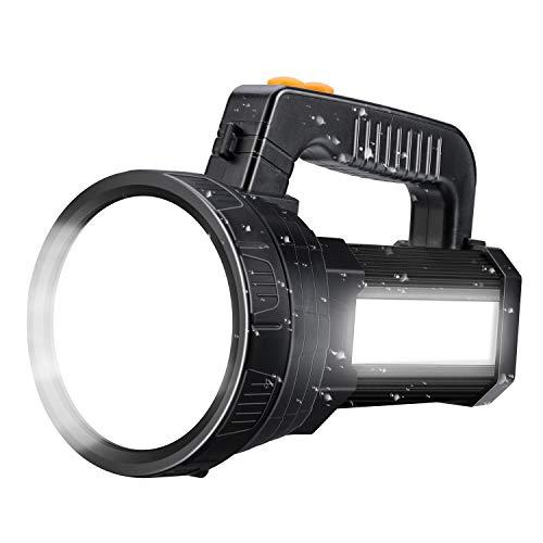Spotlight Super Bright LED Handheld Flashlight 6000 Lumen Super Bright Waterproof 6 Lighting Modes Side Searchlight 9600MAh Large Battery Rechargeable Spot Light with Foldable Tripod