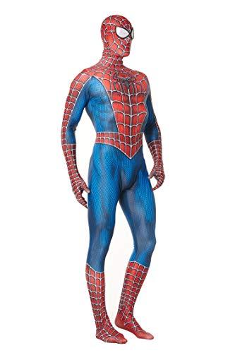 Reyee Spider Man Tony Costume Superhero Spiderman Bodysuit Lycra Spandex Cosplay Jumpsuit for Adults/Kids (Kids-M) Blue
