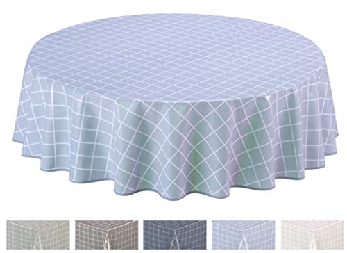 Home Direct Round Oilcloth PVC Wipe Clean Tablecloth 160cm 62' Check Light Grey