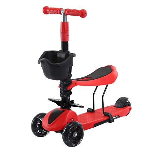 Antideslizante Scooter Patinete Niño Scooters de chico de ruedas anchas para niños de 2 a 12 años - Scooter plegable con asiento extraíble, ruedas ligeras Freno de la rueda trasera Scooters para Niños