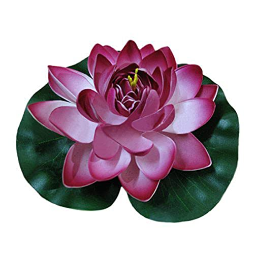 Ewanda store 1pcs Wine Red Floating Foam Lotus Water Lilies Artificial Pond Plants Flower