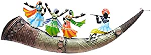 Collectible India Metal Trumpet Dancing Lady Wall Mounted Hanging Art Sculpture Modern Arts Home Office Restaurant Decor(Size 29 x 10 Inches, Multi-Color)