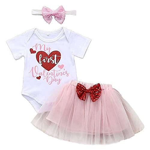 junmo shop Conjunto de 3 piezas de bebé para niñas con texto en inglés 'My First Valentines Day', falda tutú para recién nacidos, mono para niños recién nacidos + falda corta + banda para el pelo