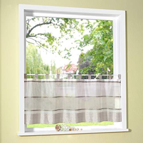 Fashion&Joy - Scheibengardine mit Schlaufen in Stone HxB 50x140 cm - Querstreifen marmorisiert auf Organza Bistrogardine Panneaux Gardine Typ411