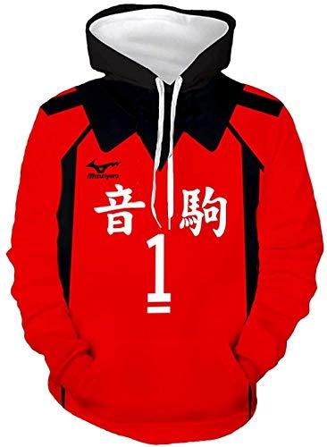 Xiao Maomi Haikyuu Kozume Kenma Cosplay Hoodie Nekoma High School Volleyball Uniform Costume Adult Pullover Sweatshirts Sweater (Large, 1(Kuroo Tetsurou))