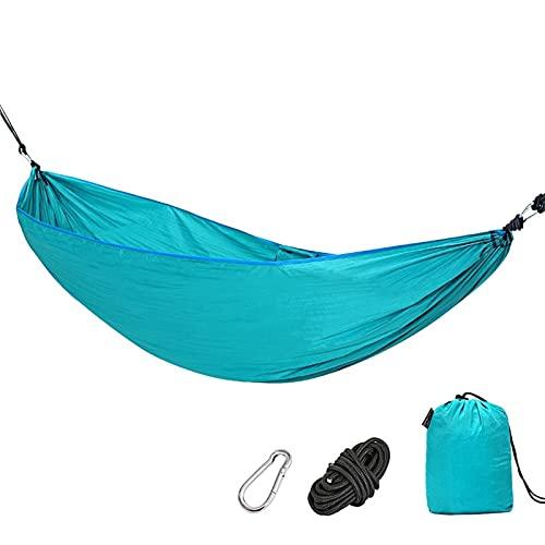 WJY Hamaca de Camping, 1/2 Persona Nylon Ligero Portátil Dormir Columpio de Hamaca de Nylon Silla de Viaje Portátil para Acampar Al Aire Libre para Mochileros, Camping, Viajes (260 * 140 cm)