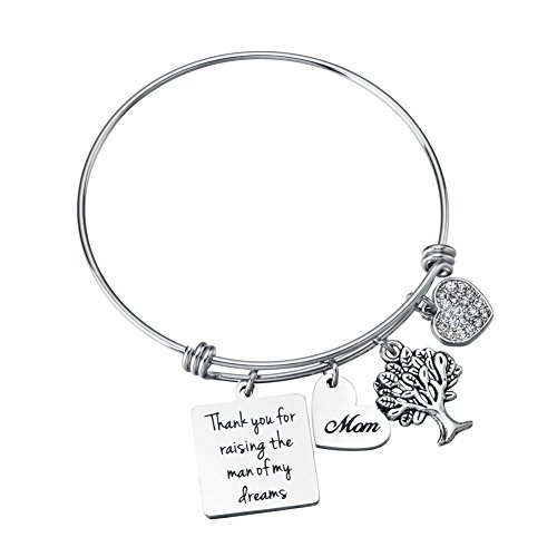 Miss Pink Mother in Law Gifts from Daughter in Law Thank You for Raising The Man of My Dreams Charm Bangle Bracelets Mothers Day Wedding Party Jewelry