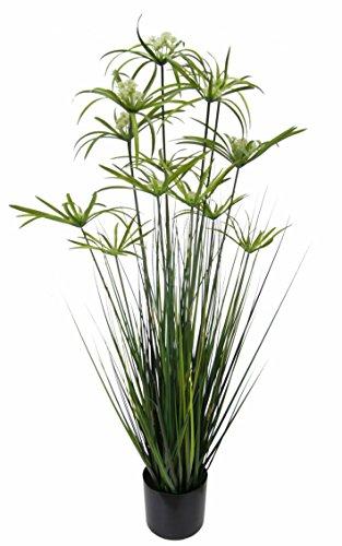 Flair Flower Zypern-Gras im Topf Grasbusch groß Gras Ziergras Dekopflanze künstliches Zyperngras Cyperus Topfpflanze Grünpflanze Künstliche Dekopflanze Staude Ufergras Schilf Katzengras