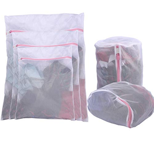 None Branded 5 Pack Mesh Laundry Bags for Delicates with Premium Zipper, Travel Storage Organize Bag, Clothing Washing Bags for Laundry, Blouse, Bra, Hosiery, Stocking, Underwear, Lingerie
