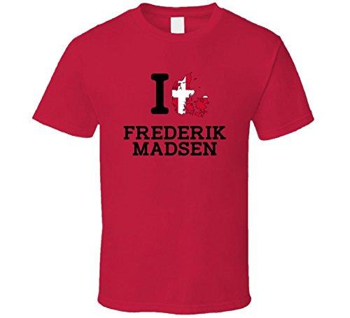 I Love Frederik Madsen Denmark Cycling Olympics T Shirt Medium