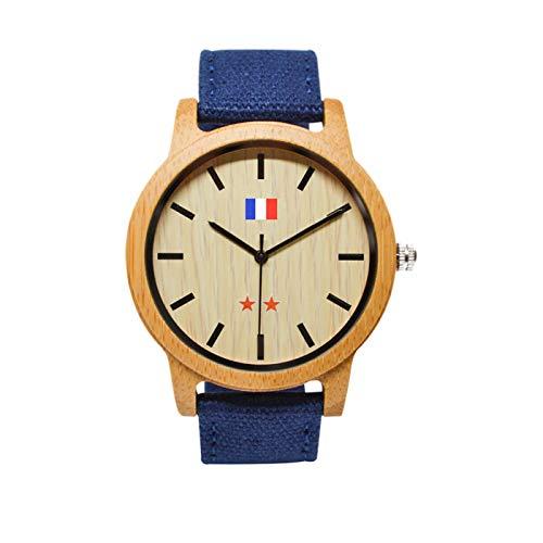 JEDDO Reloj de Madera Marrón, Serie Champion del Mundo, Grabado Bandera Francés, Brazalete Azul
