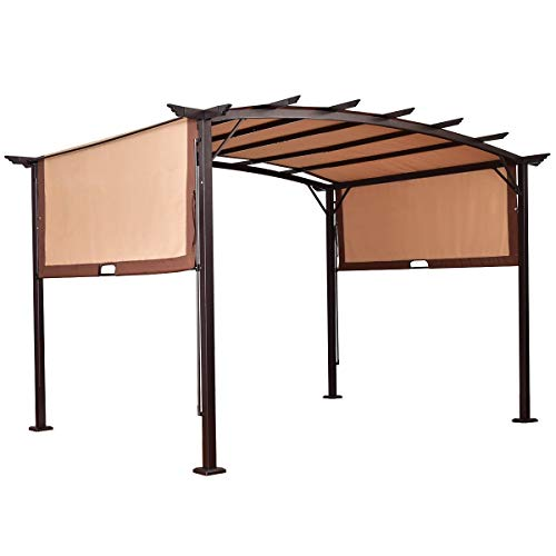 BUY JOY 12' x 9' Pergola Kit Metal Frame Gazebo &Canopy Cover Patio Furniture Shelter