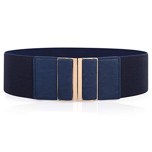Sencilla y elegante decoración para mujer vestido ancho cinturón cinturón elástico elástico ancho sello de cintura azul 63-90cm