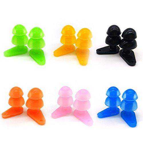 6 Sets Waterproof Kids Swimming Earplugs with Case Package, Protect Children's Ears in Water Shower