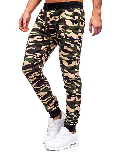 BOLF Herren Sporthose Jogginghose Trainingshose Fußballhose Fitnesshose Jogger Sweathose Jogpants Sweatpants Army Motiv Camo Slim Fit Street Style RIPRO 5958 Braun S [6F6]