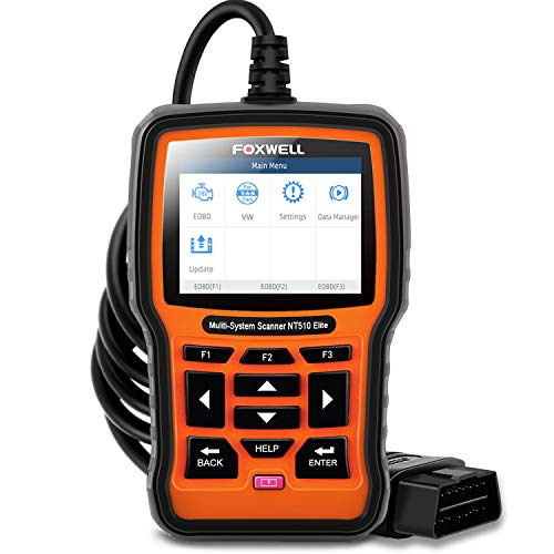 FOXWELL NT510 Elite Automotive Full System Diagnostic Scanner for VW Audi Seat Skoda OBD2 Car Code Reader All Function ABS SRS SAS EPB TPMS DPF Oil Light Reset Scan Tool with Active Test[2019 Version]