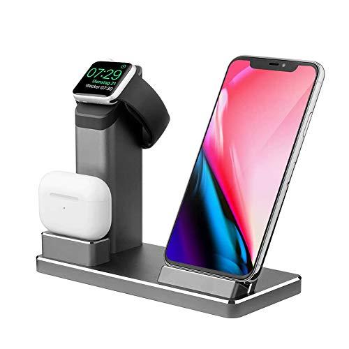 iMoebel Wireless Ladegerät, Qi-zertifiziertes 15W Schnellladedock aus Aluminium für Apple Watch, AirPods Pro, iPhone 11, 11 Pro, 11 Pro Max, XR, XS Max, XS, 8 Plus Note