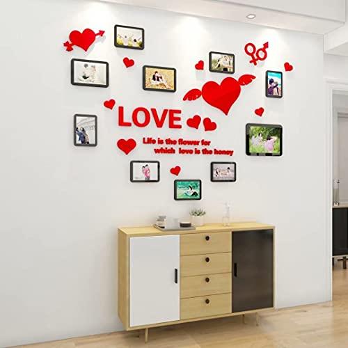 3D Pegatinas de Pared Acrílico Marco de Fotos de Amor Rojo DIY...