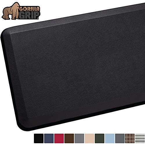 GORILLA GRIP Original Premium Anti-Fatigue Comfort Mat, Phthalate Free, Ships Flat, Ergonomically Engineered, Extra Support and Thick, Kitchen and Office Standing Desk, 39x20, Black