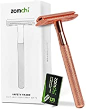 Double Edge Safety Razor for Women, Safety Razor with 5 Blades, Women Razor with a Delicate Box, Fits All Double Edge Razor Blades,Free of Plastic (Rose Gold)